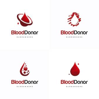 Набор шаблонов логотипов доноров крови, вектор значка шаблонов логотипов доноров крови