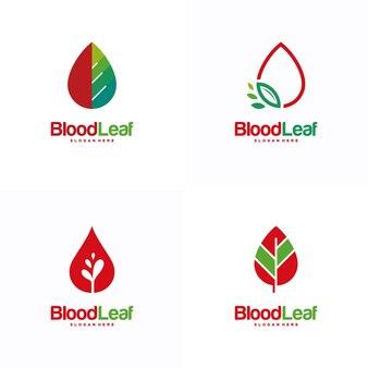 血の葉のロゴデザインコンセプトベクトル、ドナーロゴデザインテンプレート、デザインコンセプト、ロゴ、テンプレートのロゴタイプ要素のセット