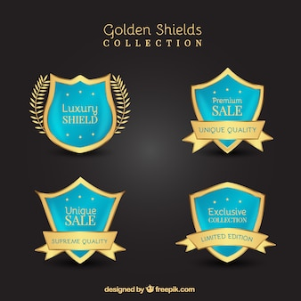 青と金色の割引シールドのセット
