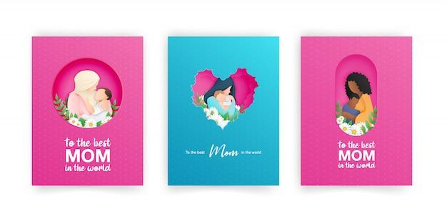 어머니의 날에 대 한 파란색과 분홍색 인사말 카드 세트.