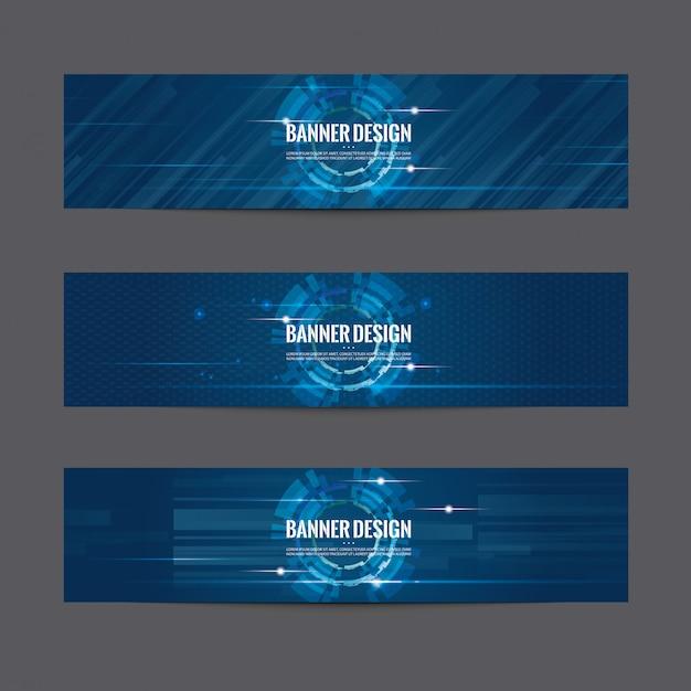 Набор синий дизайн баннера