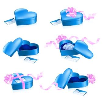 ハート形の青いボックスのセット