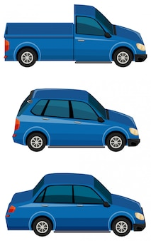 Набор синих автомобилей на белом фоне