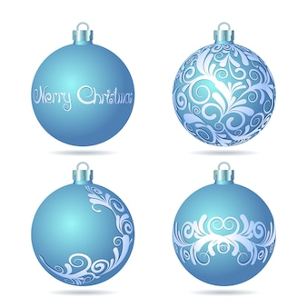 白い背景の上の青いクリスマスボールのセットです。