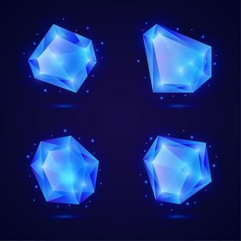 Набор голубых кристаллов, драгоценных камней, драгоценных камней, алмазов, векторных активов, коллекции для игрового дизайна