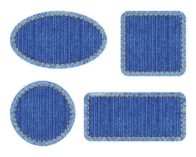 Набор синих джинсовых нашивок со строчкой. различные формы с местом для текста изолированы.