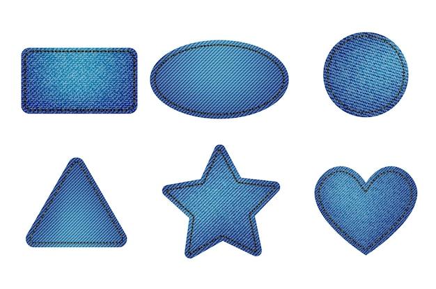 Набор синих джинсовых нашивок со строчкой. голубой деним.