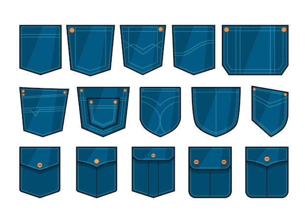 Набор нашивок на карманы синего денима
