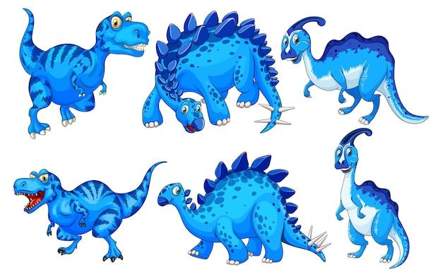 Набор синего мультипликационного персонажа динозавров