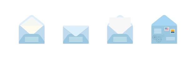 さまざまなビューでポストスタンプと青い封筒のセット。
