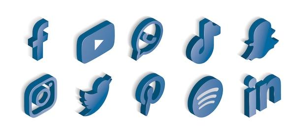 青い光沢のあるソーシャルメディアアイコンのセット