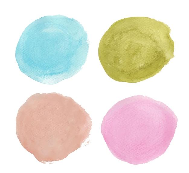 파란색, 녹색 및 분홍색의 집합입니다. 라운드 수채화 밝아진. 원 요소
