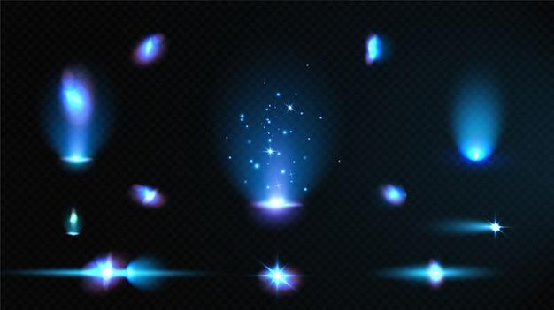 ブルーライト効果のセット。ネオン魔法の光、照らされたベクトル