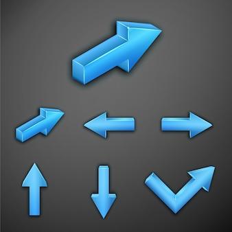 インフォグラフィックの青い金属矢印のセット