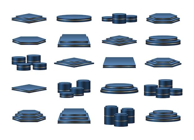 青い表彰台のセット。授賞式や製品プレゼンテーションのための現実的な表彰台またはプラットフォーム。