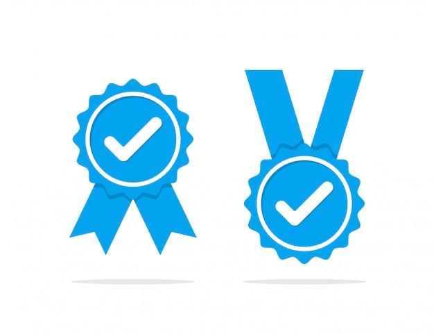 青いプロファイル検証アイコンのセット。保証、承認、承認、品質のバッジ