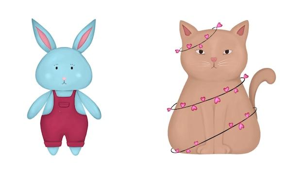 ピンクのズボンと花輪と猫の青いウサギの動物のセット
