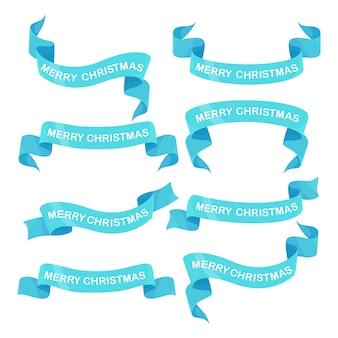 メリークリスマスのテキストと青いリボンのセット