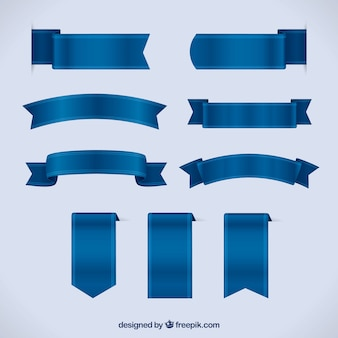 Set of blue ribbons in realistic style