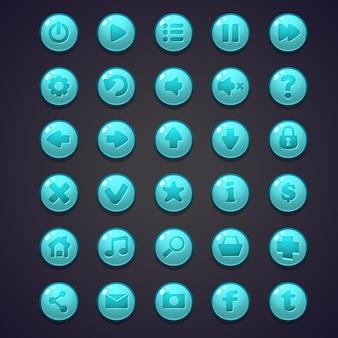コンピュータゲームとウェブデザインのユーザーインターフェイス用の青い丸いボタンのセット