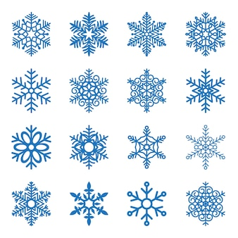 Набор синей снежинки, изолированные на белом