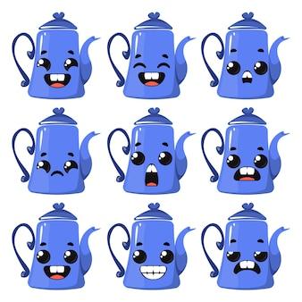 さまざまな感情を持つ青いティーポットのセット。漫画の幼稚なスタイルのベクトルイラスト。