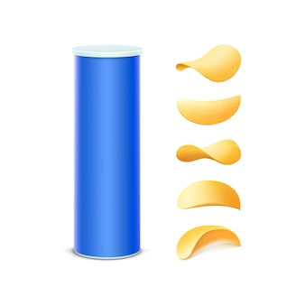다른 모양의 감자 파삭 파삭 한 칩 패키지 디자인을위한 파란색 주석 상자 컨테이너 튜브 세트는 흰색 배경에 고립 닫습니다