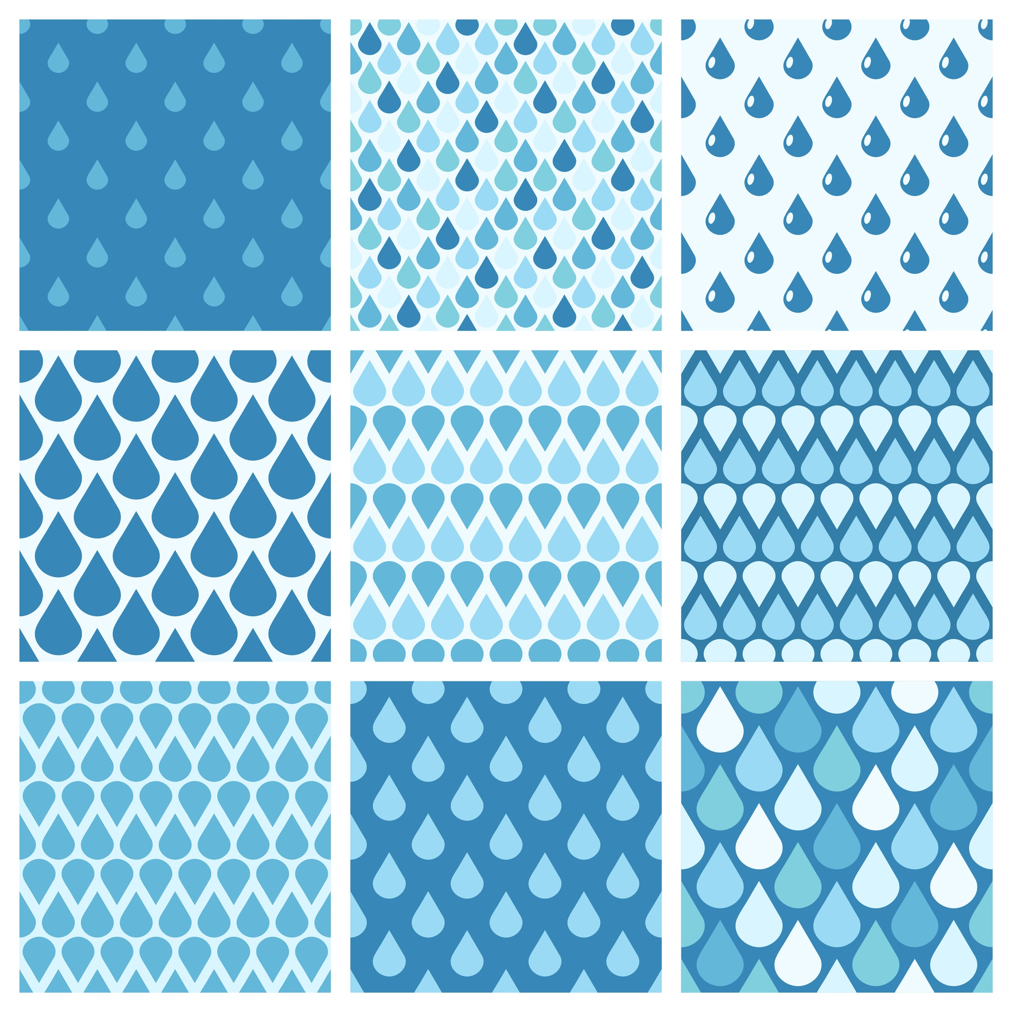 Set of blue vector water drops seamless patterns