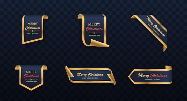 Bluegolden 크리스마스 판매 배너 기쁜 성 탄과 새 해 복 많이 받으세요 레이블 집합