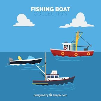 Набор лодок плоского дизайна