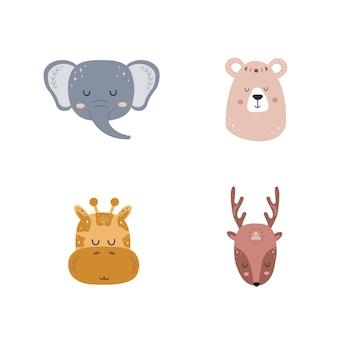 自由奔放に生きる動物のセット。かわいい手描きの象、キリン、クマ、鹿。