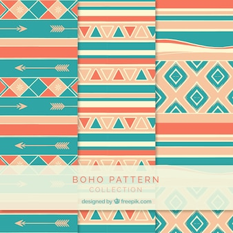 Set of boho patterns with different elements