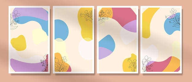 世紀半ばの熱帯の葉と最小限のスタイルで自由奔放に生きるポスターのセット