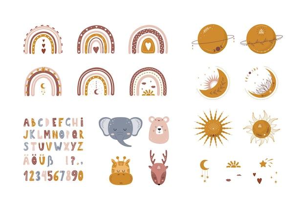 自由奔放に生きる虹、惑星、衛星、太陽、動物のセット。かわいい手描きのアルファベット。