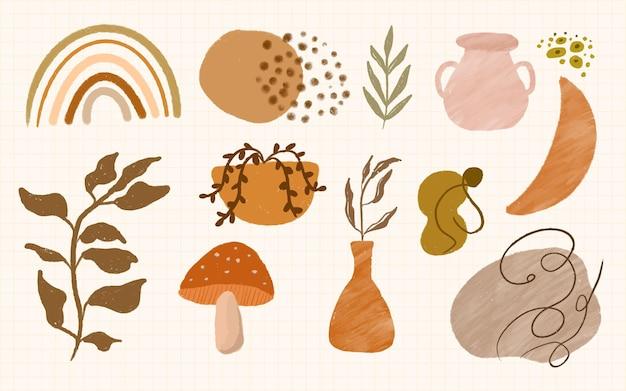 Набор формы бохо и листья абстрактного минималистского украшения