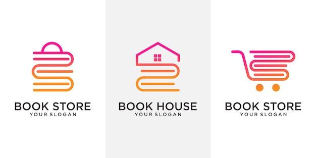 회사, 재단 및 비즈니스 .logo 디자인 벡터에 대한 책 집, 서점 및 추상 로고 개념 세트