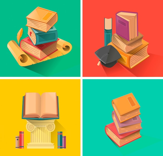 フラットなデザインの本のセット