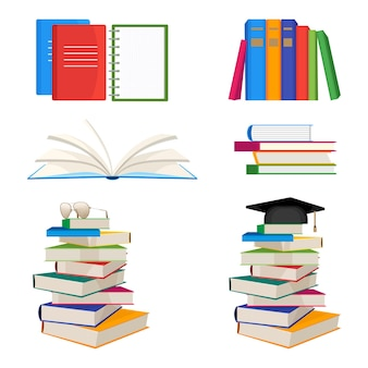 上にメガネや鏝板の帽子、開いた教科書、ノートブック、フォルダーのベクトル図を白い背景で隔離の積み重ねられた本のセット