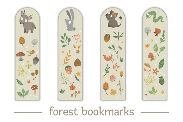 森の動物をテーマにした子供のためのブックマークのセット。