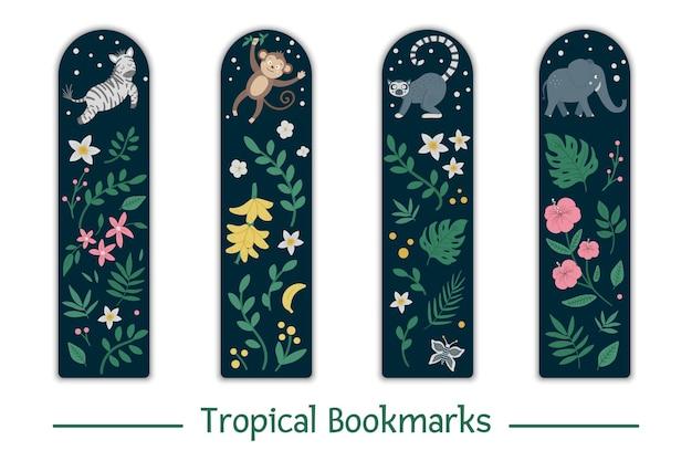 열대 동물, 잎, 꽃과 책갈피를 설정합니다. 귀여운 미소 얼룩말, 원숭이, 여우 원숭이, 아이들을위한 코끼리 편지지.