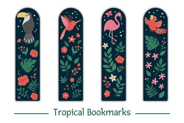 열대 조류, 잎, 꽃과 책갈피를 설정합니다. 귀여운 미소 큰 부리 새, 플라밍고, 낙원 새, 앵무새