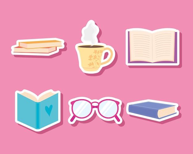 本とメガネのセット