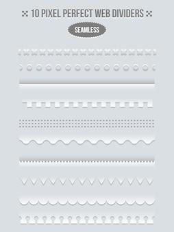 ウェブ用の境界線と仕切りのセット。ラインページ、bookbinderデザイン、ベクトル図