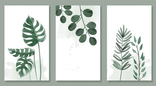 Набор ботанических и диких листьев в акварельной живописи. дизайн для подвешивания кадра, плаката и карты.