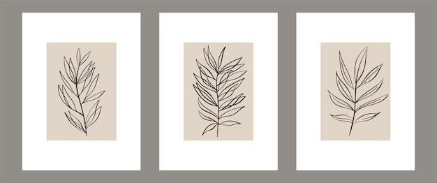 植物の現代的な壁アートポスターのセット抽象的な形で描く熱帯の線画