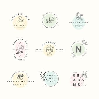 植物のロゴデザインベクトルのセット