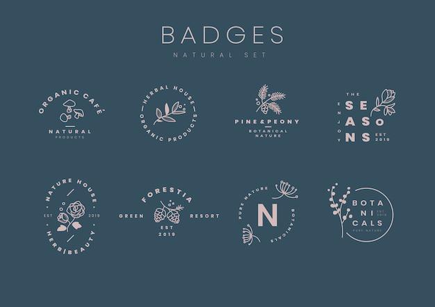 Набор ботанических логотипов дизайн векторов