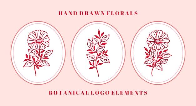 Набор ботанических розовых цветочных элементов герберы для логотипа и бренда женской красоты