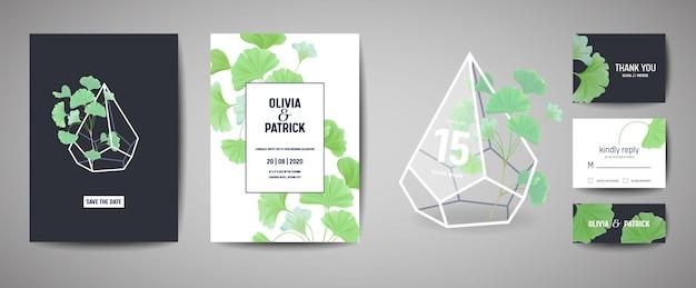 植物のレトロな結婚式の招待カードのセット、モダンなsave the date、イチョウの葉のイラストのテンプレートデザイン。ベクトル流行の表紙、パステルグラフィックポスター、パンフレット