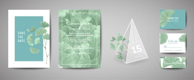 Набор ботанических ретро свадебных пригласительных билетов, современные сохранить дату, дизайн шаблона листьев гинкго билоба иллюстрации. вектор модная обложка, пастельный графический плакат, брошюра